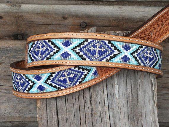 Handmade Leather Beaded Belt by Deesbeadeddogcollars on Etsy