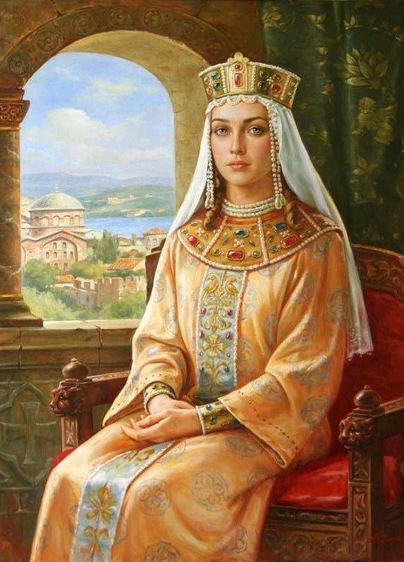 """Irina Volodarovna"" – a painting by Artur Orlenov, 2008. Irina Volodarovna (1093 – 1152) was a Russian medieval Russian Princess"