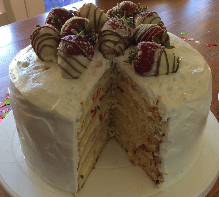 Strawberry and passion fruit mile-high layer cake