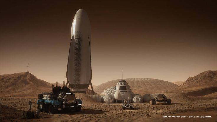 One of the first fan art based around the design of SpaceX's Mars Vehicle is made by talented modern space artist Bryan Versteeg - a Mars base built around a landed SpaceX Mars Colonial Transporter.