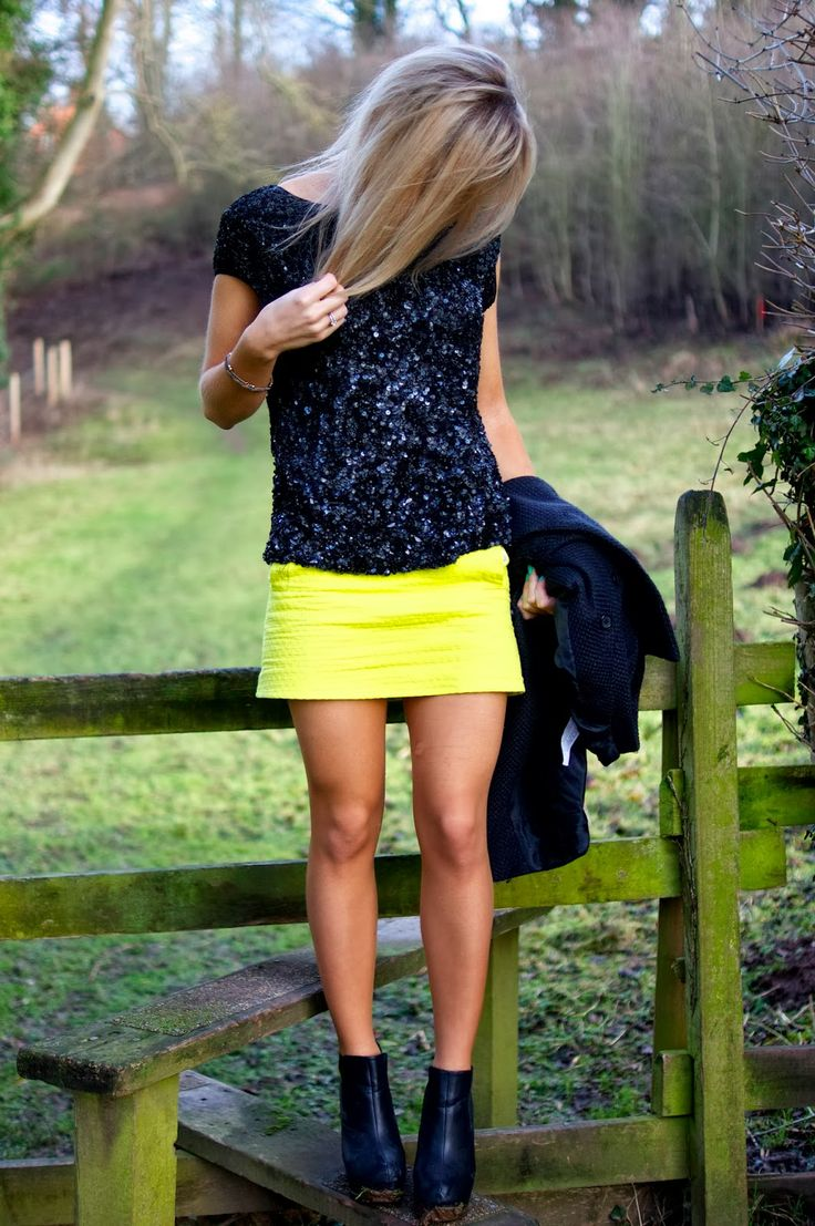 Neon Skirt and Sequins: Outfit Of The Day