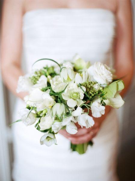 white and green bridal bouquet, First Unitarian Church, Françoise Weeks