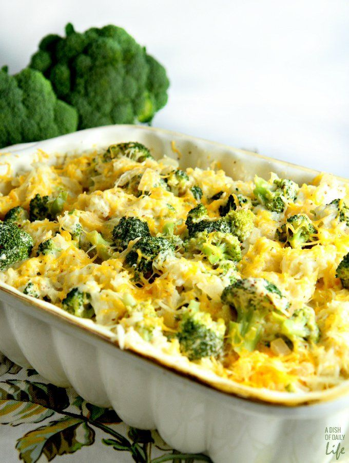 Cheesy Broccoli Rice Casserole...a warm and comforting casserole made from scratch using all natural cheeses.