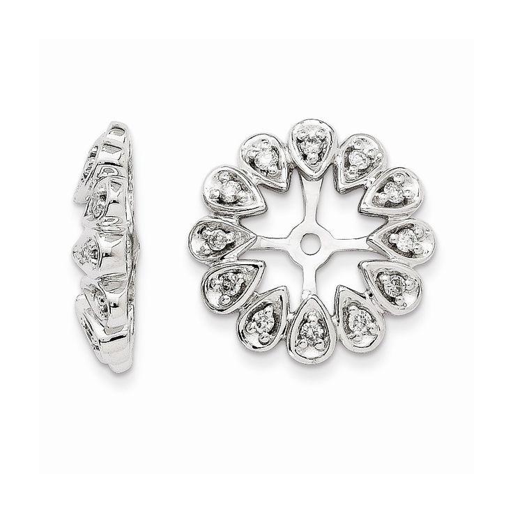 14K White Gold Diamond Earring Jackets | Earring Jackets ...
