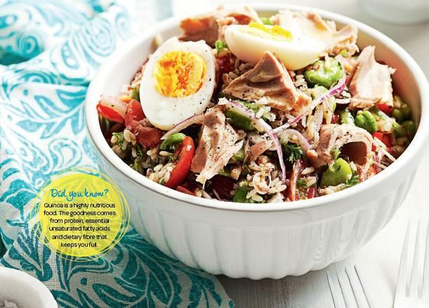 Tuna, Quinoa & Rice Salad. Try this protein-packed salad for a weeknight dinner. #Woolworths #recipe #salad http://www.woolworths.com.au/wps/wcm/connect/Website/Woolworths/FreshFoodIdeas/Recipes/Recipes-Content/tunaquinoaandricesalad