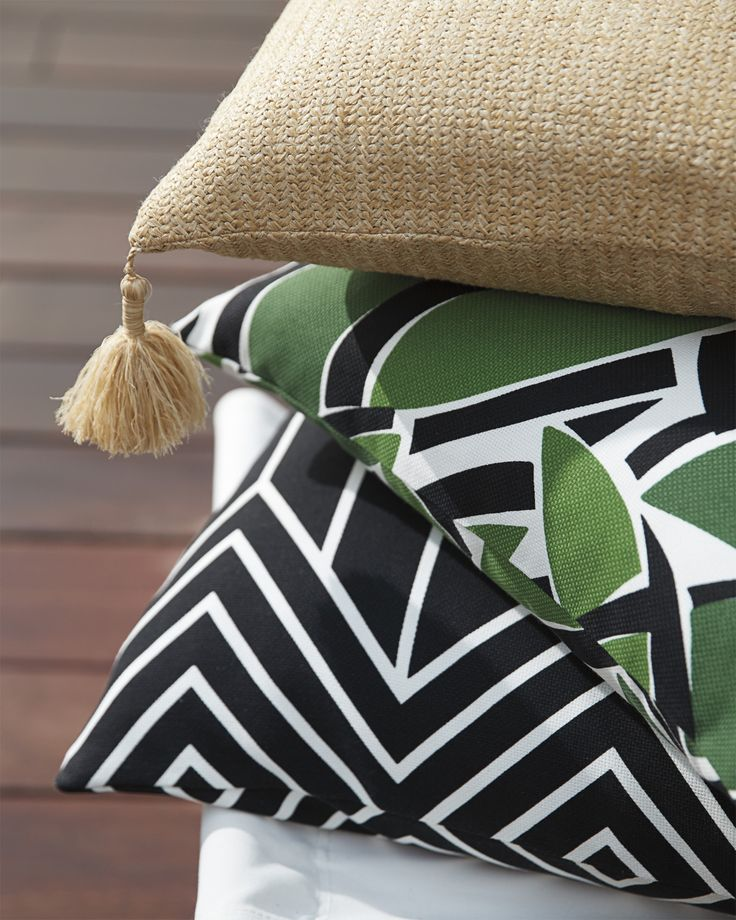 Green, black & natural - the perfect color story for the chicest summer yet | Tilden Outdoor Pillow Cover via Serena & Lily