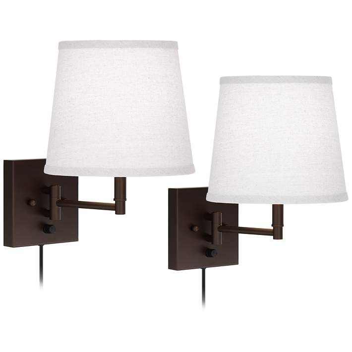 Lanett Painted Bronze Plug In Swing Arm Wall Lamp Set Of 2 46t02 Lamps Plus Swing Arm Wall Lamps Wall Lamp Wall Lamp Design