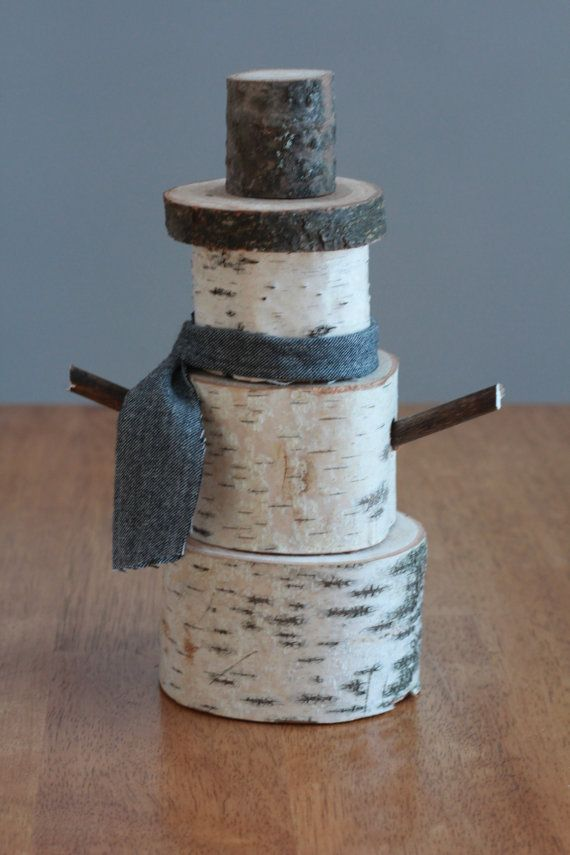 Birch tree, snowman, rustic winter, holiday decor, birch log