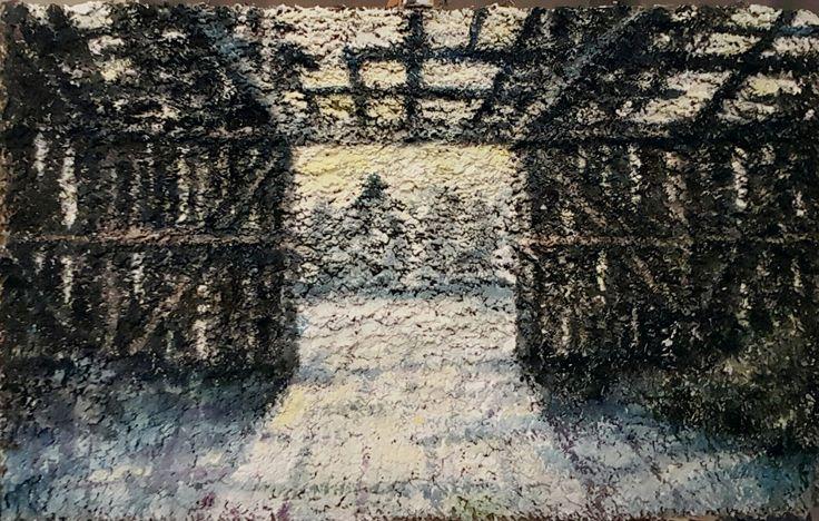 Shelter. Acrylic on carpet. #Artokarttunen #carpetpainting #parallaxartfair