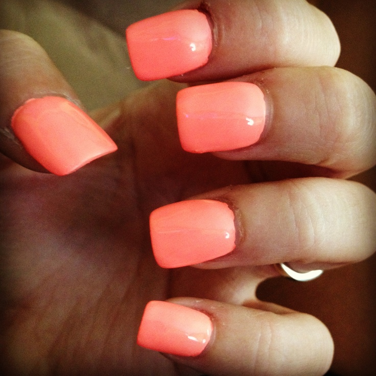 Coral nail polish, fake nails | nails!(: | Pinterest ...