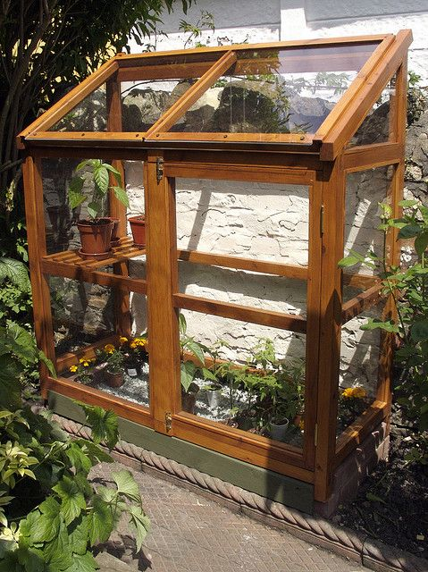 Homemade greenhouse up against the house                                                                                                                                                      More