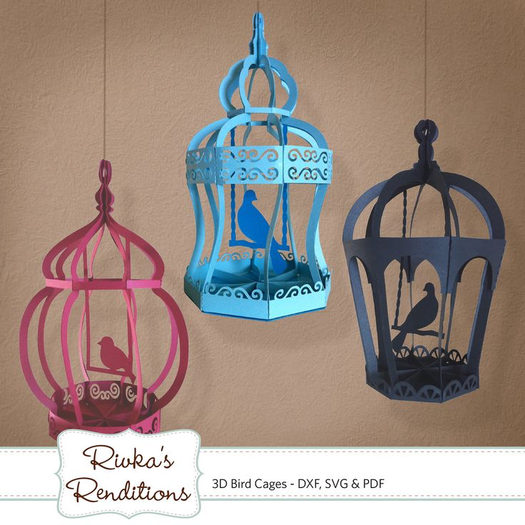 3D Bird Cages Digital Cut File and Template by RivkasRenditions. , via Etsy.