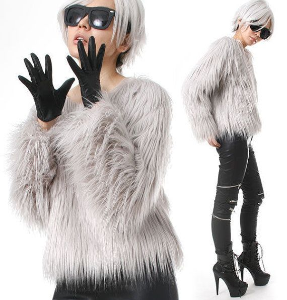 RTBU Punk Rock Runway Vegan Shaggy Faux Fur Furry Raglan Gorilla Top Pullover Sweatshirt The top yes.. the shoes.. NO! ~JJ