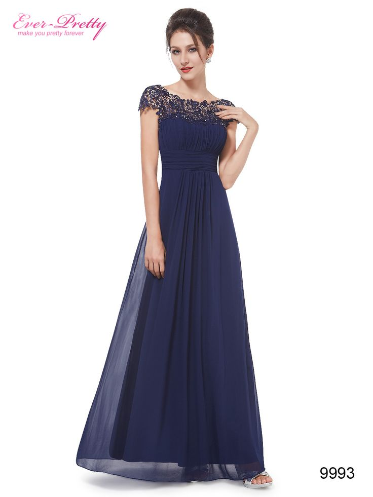 Navy Blue Lacey Neckline Open Back Ruched Bust Evening Dress