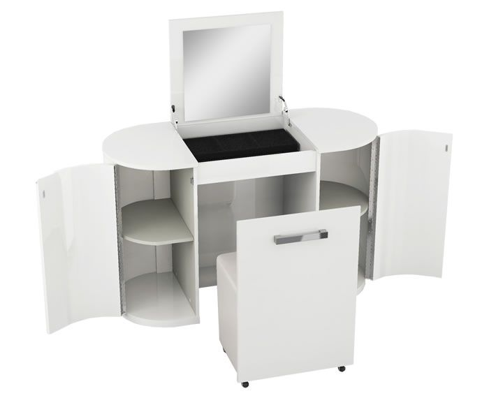Pryce White Gloss Dressing Table folds away with ease - the ideal solution where space may be limited. White gloss finish.