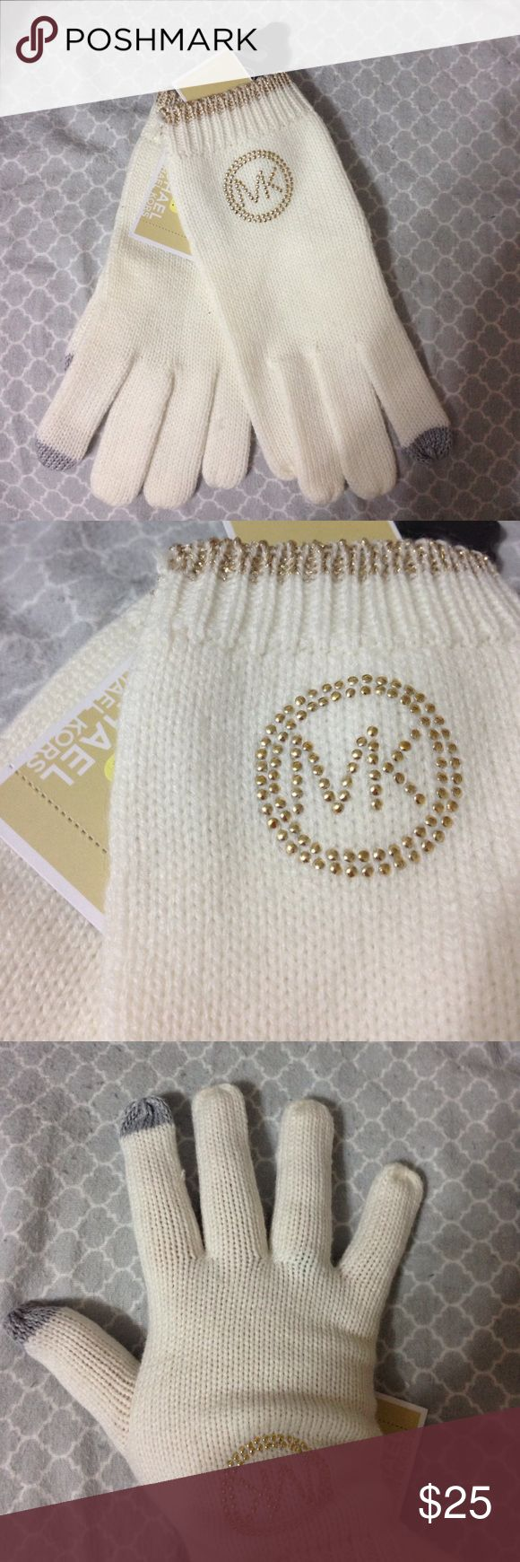 Michael Kors gloves Michael Kors gloves, tech friendly, thumb and second finger tech, cream color, received as a gift so they've never been used. Also have matching scarf and hat, can be sold as set or separately. KORS Michael Kors Accessories Gloves & Mittens