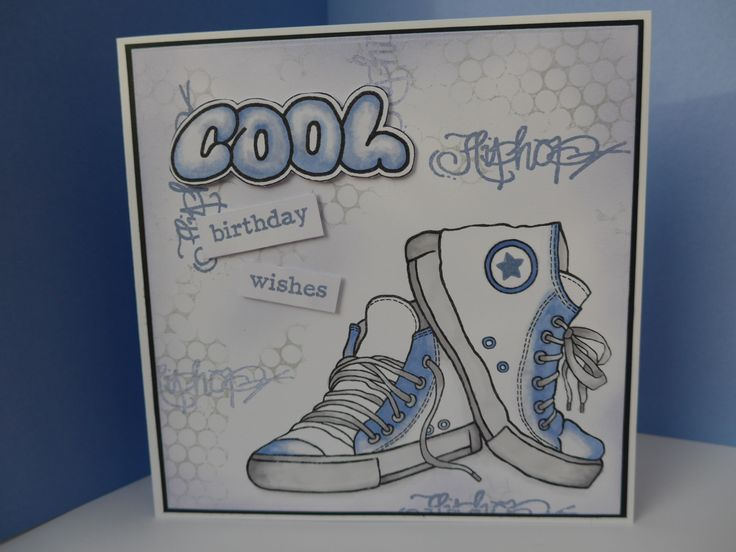 Card made using Woodware sneakers and graffiti stamps