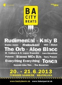 BA City Beats 2013 20.-21.6.2013, Bratislava - Kate B, Aloe Blacc, The Orba, Rudimental, Tosca and many more