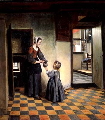 A Woman With a Child in a Pantry by Pieter de Hooch (1629 – 1684), c 1658, Amsterdam, Rijksmuseum.