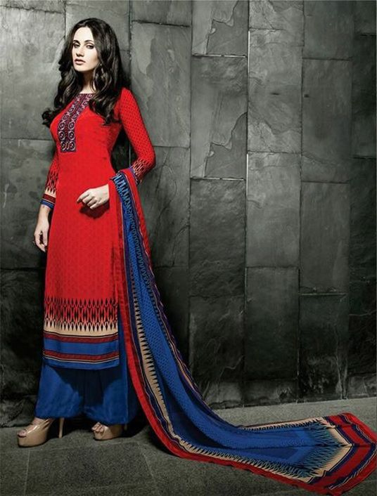 Red Georgette Kameez With Palazzo Pant 58021