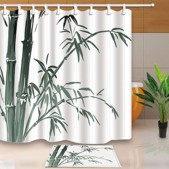 Bamboo Shower Curtain Tropical Bathroom Curtain Polyester Fabric