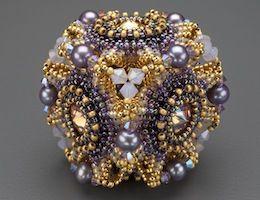"""Laura McCabe kit: """"Geo-Floral"""" Beaded Bead Kit, purple & olivine  ($65.00)"""