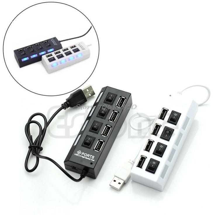 Grabadora externa de Expansión Hub de 4 Puertos USB 2.0 interruptor de Encendido/Apagado LED 480 Mbps Divisor de R179 Envío de La Gota