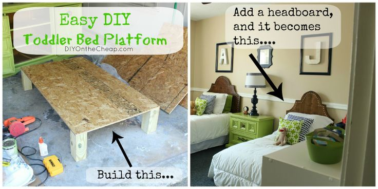 How to Build an Easy Toddler Bed Platform {via DIYOntheCheap.com}--I could totally have my dad build beds for the kids!!