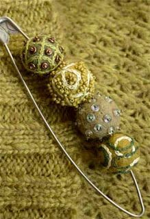 Christa Saalfrank -takes the simple felted bead to amazing places with surface embellishment, embroidery and occasional seed bead.