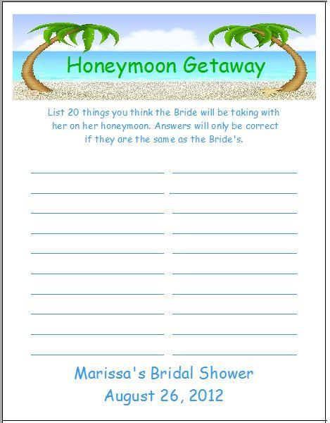 honeymoon bridal shower games - Google Search