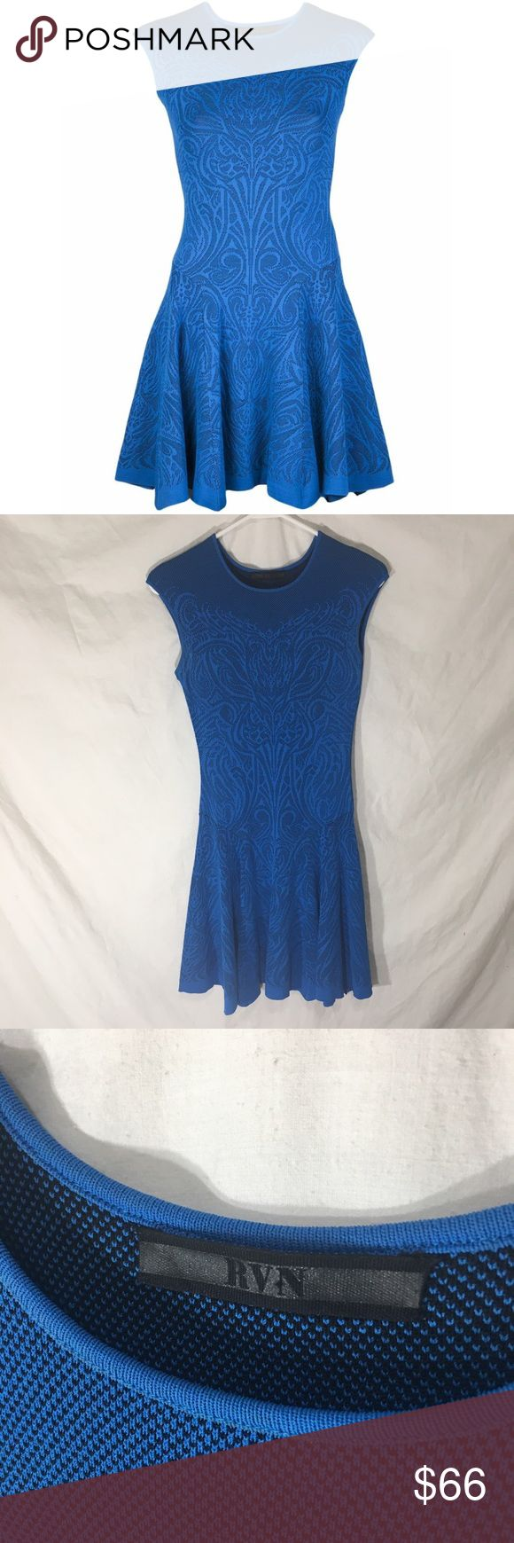 🌟CELEBRITY🌟RVN Blue Tattoo Lace Flare Jacquard Worn by several celebrities such as The Real Housewives Tamra Barney and Lisa Hochstein! Beautiful dress in excellent used condition without flaws. RVN Dresses Mini