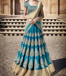 Buy Sky blue embroidered silk unstitched lehenga choli lehenga-choli online