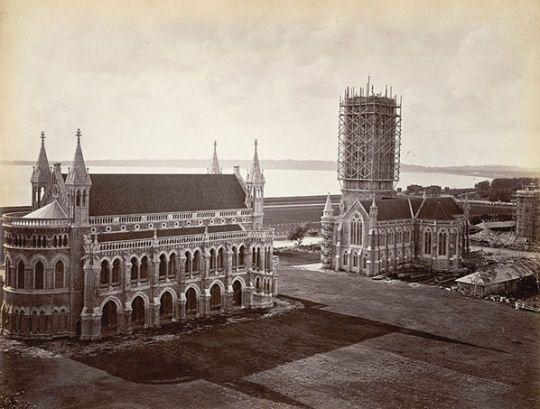 Rajabai Tower under construction (Circa 1875)