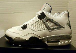 """NIKE AIR JORDAN RETRO 4 OG """"WHITE CEMENT"""" White / Fire Red - Tech Gry 840606 192 #Nike #AirJordan #Deadstock #Shoes #Sneakers #Forsale @ebay"""