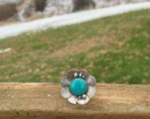 Bloem Ring, Turquoise Ring, Turkoois sieraden, blauwe Ring, Floral Ring, Flower Jewelry Flower Jewelry, natuur geïnspireerd, unieke Ring, Boheemse sieraden