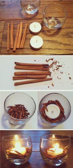 #Decoración de #Navidad - #Manualidades - Velas con Ramas de Canela - Navidad a la Carta - http://www.navidadalacarta.com/portfolio-items/velas-con-ramas-de-canela/