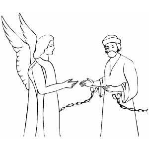 Bible Coloring Pages For Peter S Escape From Jail Angel