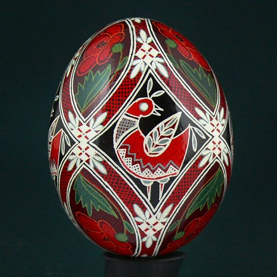 These Beautiful Pysanky from Western Ukraine are painted using traditional batik technique with beeswax and kistka. Artist creates unique compositions based on national folk ornaments and symbols from different regions of Ukraine. Decorating his pysanky he is using images of plants and animals. They symbolize happiness and prosperity,aspecially horses, deers, squirrels, birds and fish. All work is not wooden! These are real chicken eggs. Pysanky are made by hand, at high artistic level…