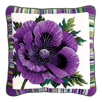 Garden Flowers - Purple Poppy Tapestry Cushion Kit by Bothy Threads