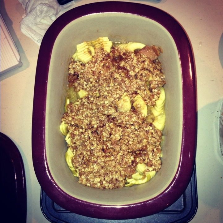 Apple crisp in Deep Covered Baker! Fast in microwave! Delicious!