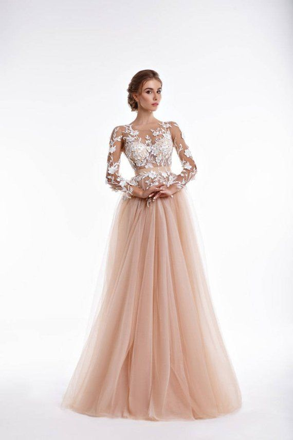 fc2e8a60060 Tulle blush wedding dress with exclusive lace transparent corset ...