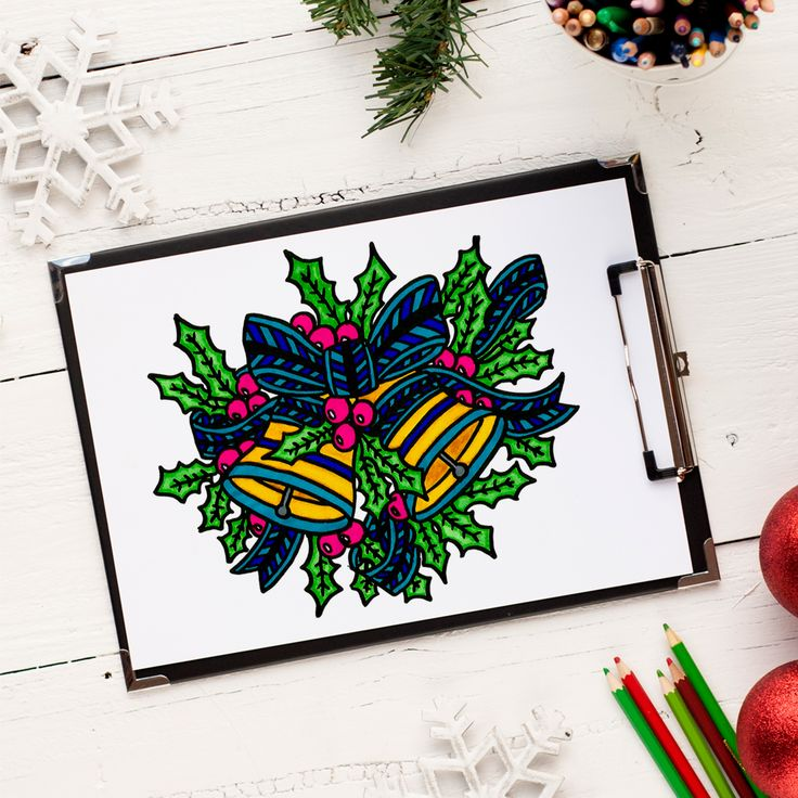 """Check out this coloring page from """"Coloring Christmas""""   Colored by Tiffany. Get the coloring book at www.sarahrenaeclark.com #christmas #coloringbook"""