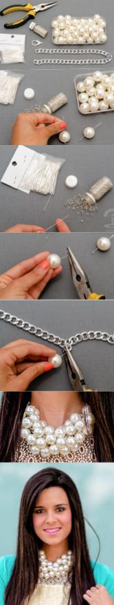 DIY Crimenes de la Moda - Collar Racimo de perlas - necklace pearls