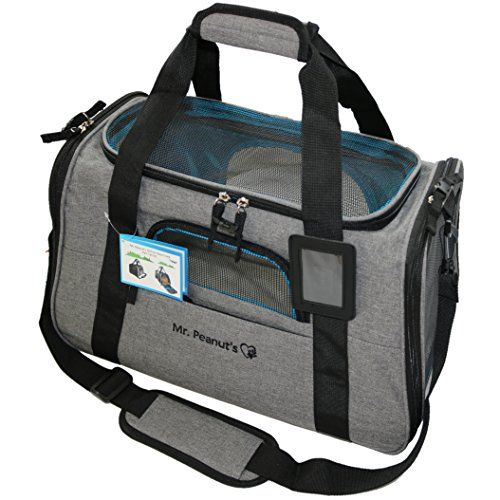 """Premium Airline Approved Soft Sided Pet Carrier by Mr. Peanut's, Low Profile Luxury Travel Tote with Extra Plush Fleece Bed & Safety Lock, Under Seat Compatibility, Perfect for Cats and Small Dogs AIRLINE APPROVED PET CARRIER - 18"""" Length x 10"""" Width x 11"""" Height - Please consider your pets sizing needs. Recommended For Pets Up to 14lbs * Designed with Ventilated Top & Sides, meets all airline requirements of under forward seat compatibility including Delta, Southwest, United"""