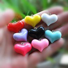 Pendiente del corazón encantos encantos de resina collar colgante para la decoración de DIY 24 unids(China (Mainland))
