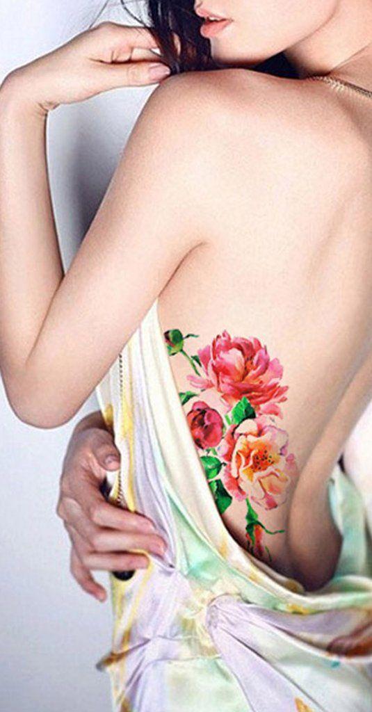 dda44c3de60b9 Cute Watercolor Flower Rib Tattoo Ideas for Women - Peach Floral Vintage  Side Boob Tat -