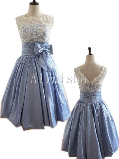 Gorgeous lace on the bodice bow on the waist sleeveless A-line zipper back taffeta formal dress