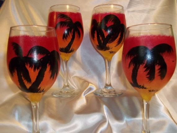 HandPainted Tropical Wine Glasses by Asiuleehu on Etsy, $32.00