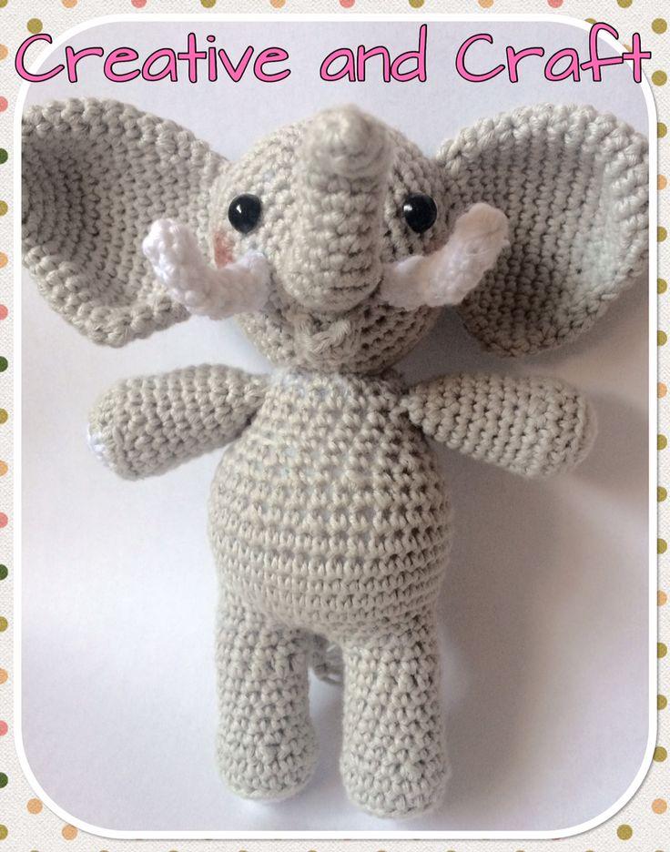Patrón elefante amigurumi. Descargatelo gratis directamente desde nuestra web Creative and craf de forma muy sencilla para...