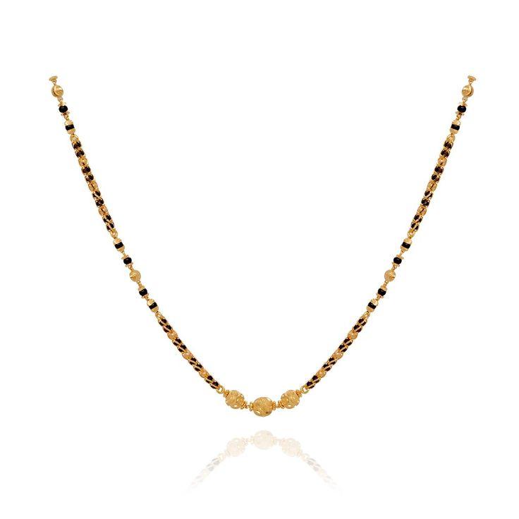 Chains Three Ball Row Black Bead Gold Chain Grt